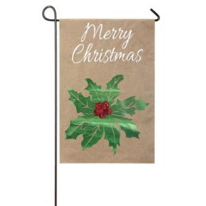 Merry Christmas Holly Burlap Garden Flag