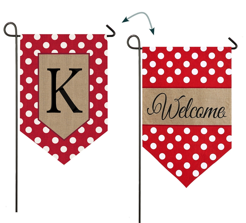 Burlap Monogram Initial Garden Flags In The Wind Flags