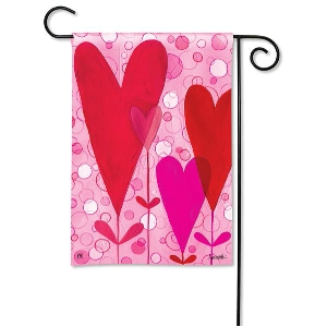 Heart Flowers Garden Flag