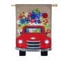 RED TRUCK W/ FLOWERS LG FLAG Thumbnail