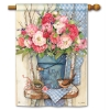 BUCKET OF PEONIES HOUSE FLAG Thumbnail