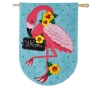 FLAMINGO BURLAP HOUSE FLAG Thumbnail