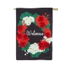 WELCOME GERANIUM BURLAP FLAG Thumbnail