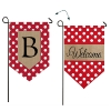B POLKA DOT WELCOME BURLAP GARDEN FLAG Thumbnail