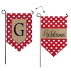G POLKA DOT WELCOME BURLAP GARDEN FLAG Thumbnail