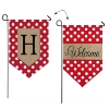 H POLKA DOT WELCOME BURLAP GARDEN FLAG Thumbnail