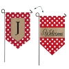 J POLKA DOT WELCOME BURLAP GARDEN FLAG Thumbnail