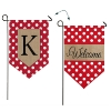 K POLKA DOT WELCOME BURLAP GARDEN FLAG Thumbnail