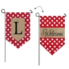L POLKA DOT WELCOME BURLAP GARDEN FLAG Thumbnail