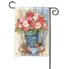 BUCKET OF PEONIES GARDEN FLAG Thumbnail